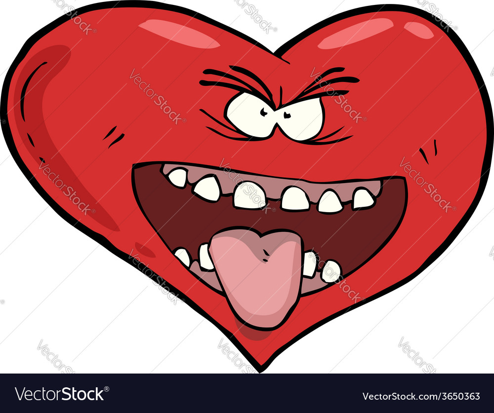 Heart with an open mouth vector | Price: 1 Credit (USD $1)
