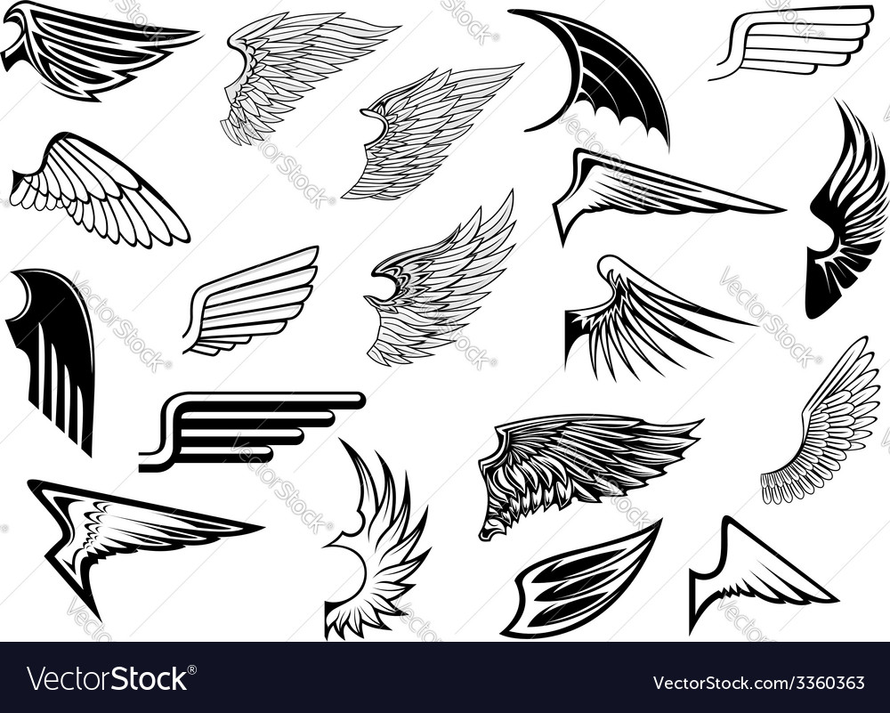Heraldic vintage wings set vector | Price: 1 Credit (USD $1)