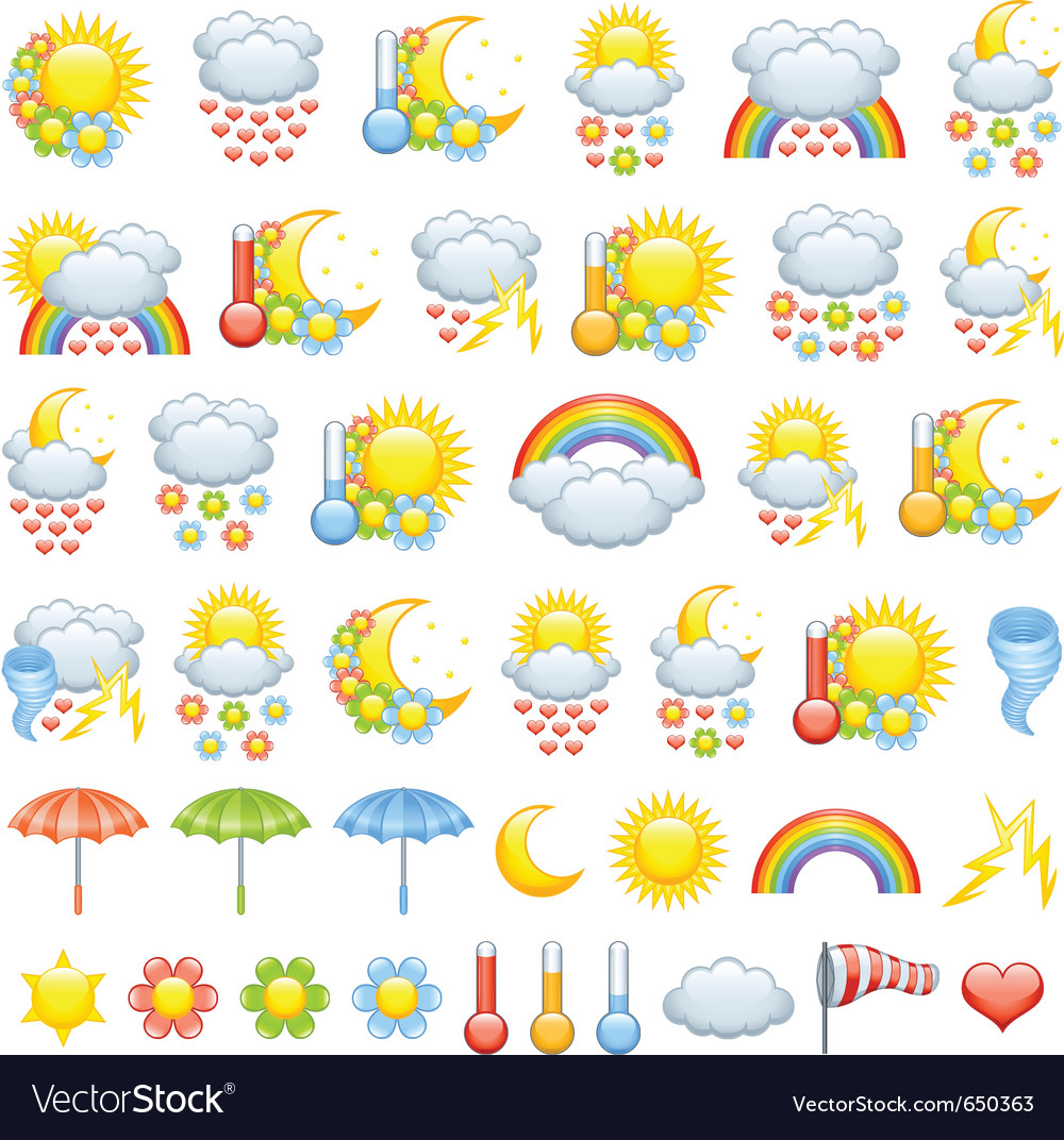 Love weather icons vector | Price: 3 Credit (USD $3)