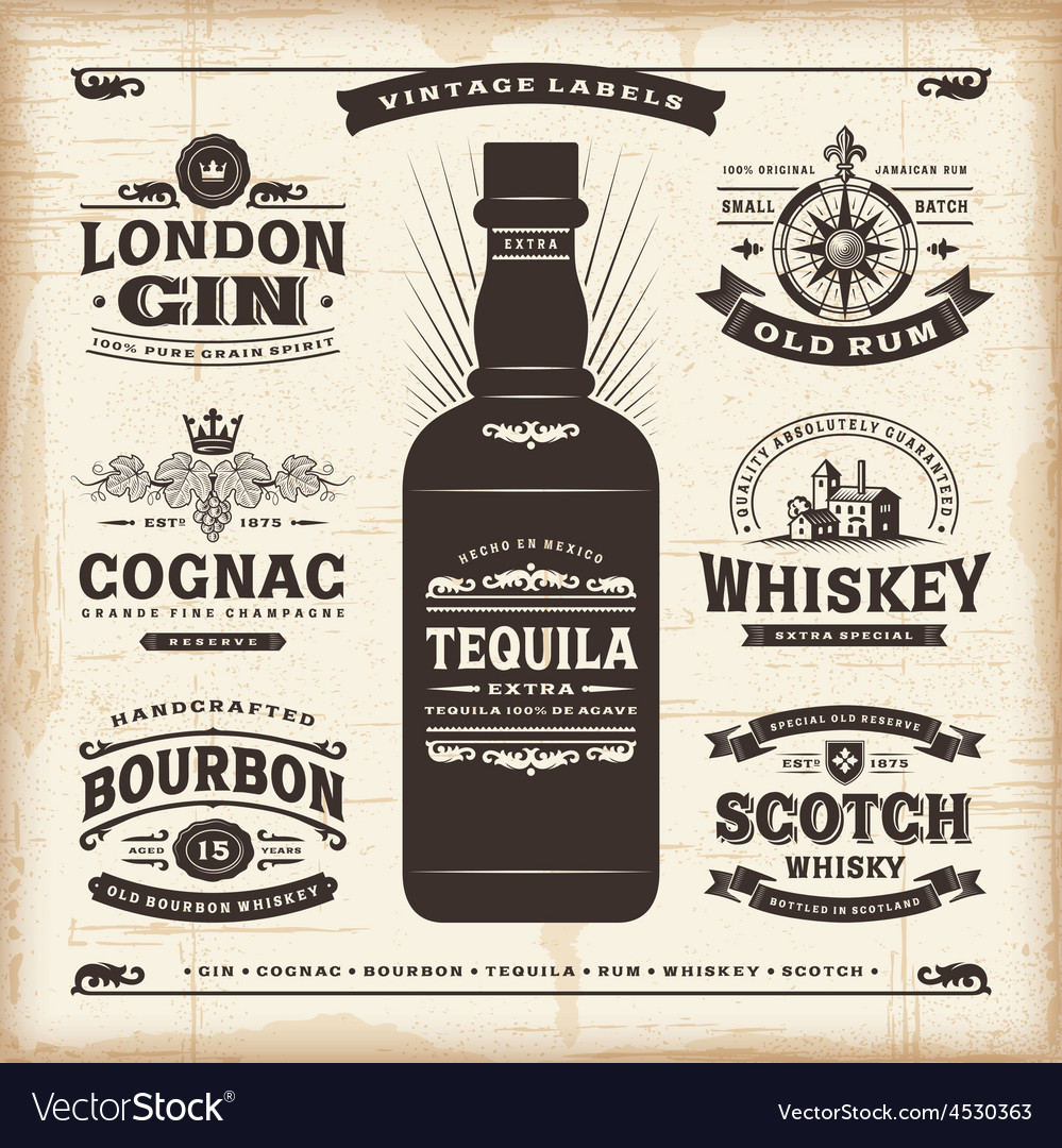 Vintage alcohol labels collection vector | Price: 3 Credit (USD $3)