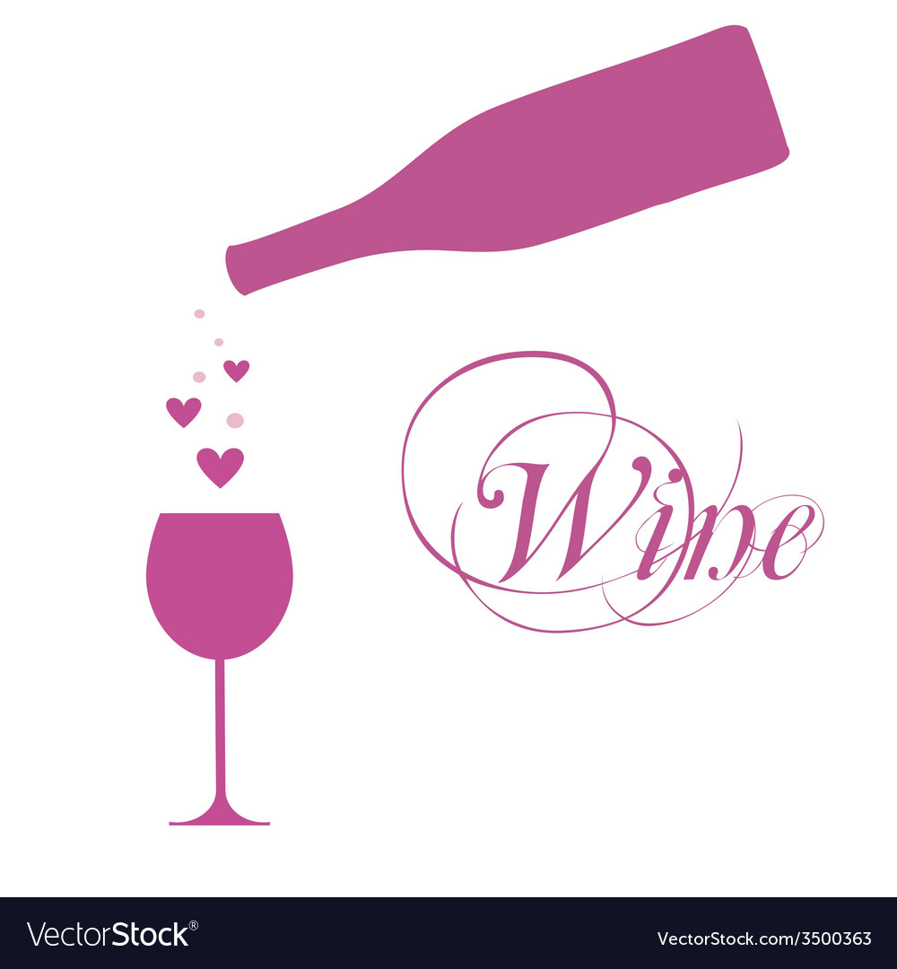 Wine bottle with wine glass and sparkles vector | Price: 1 Credit (USD $1)