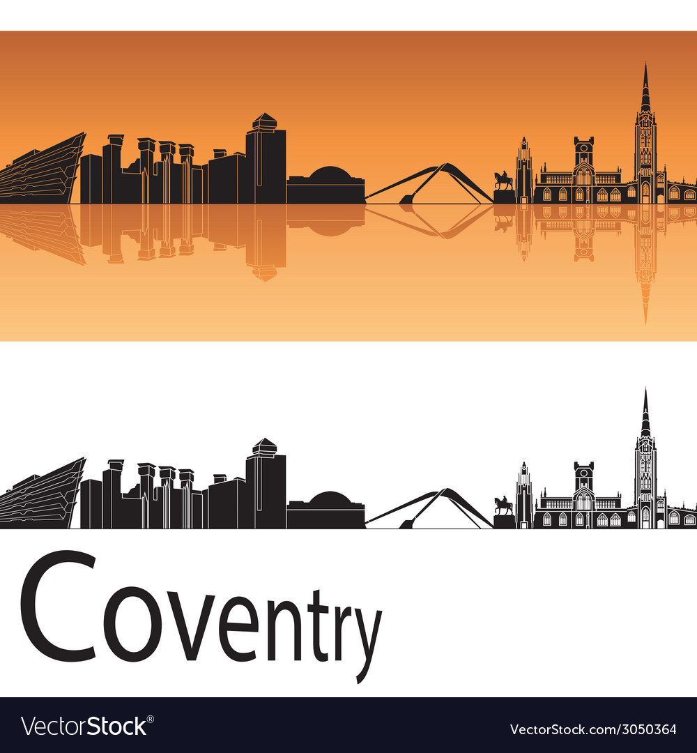 Coventry skyline in orange background vector   Price: 1 Credit (USD $1)