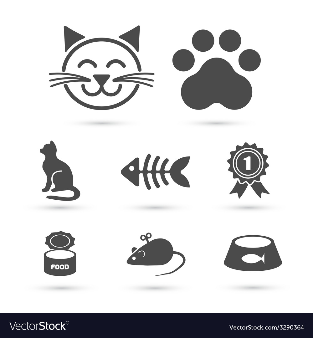 Cute cat icon symbol set on white vector | Price: 1 Credit (USD $1)
