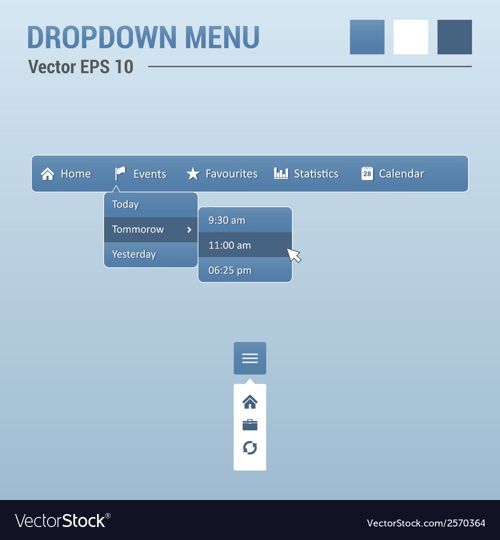Dropdown horizontal menu vector | Price: 1 Credit (USD $1)
