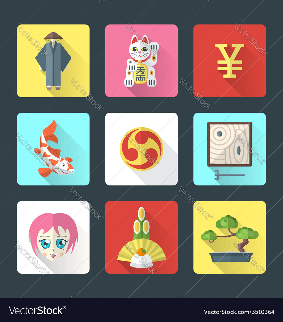 Japan theme flat style icons set vector | Price: 1 Credit (USD $1)
