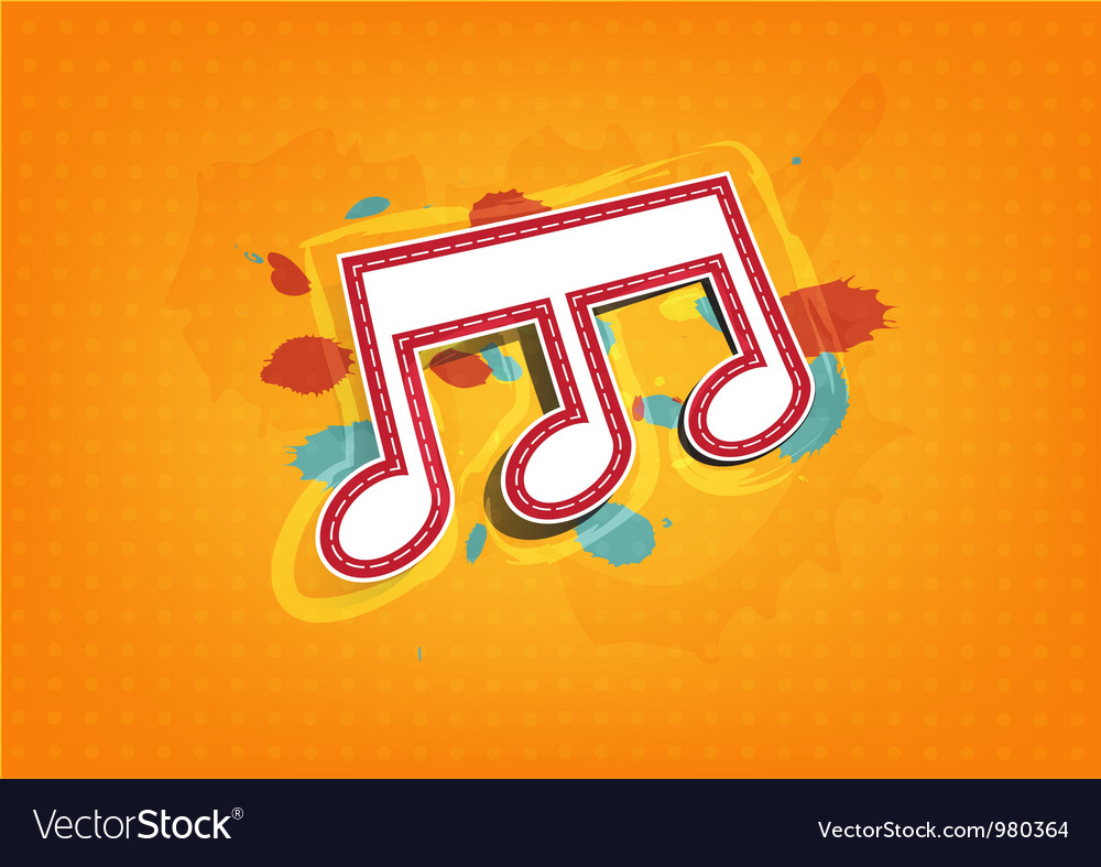 Melody note label with ink paint background vector | Price: 1 Credit (USD $1)