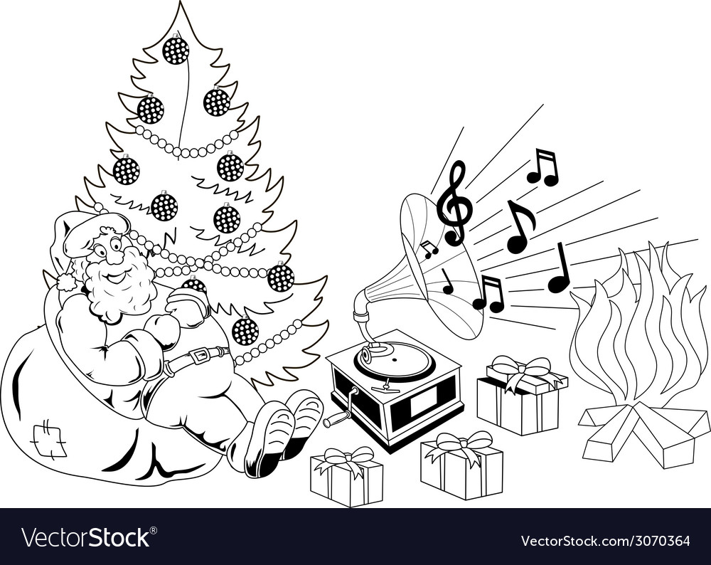 Santa claus listening to music vector | Price: 1 Credit (USD $1)
