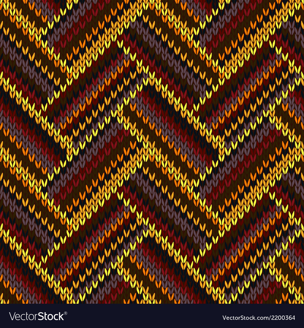 Seamless knitted pattern yellow orange red brown vector | Price: 1 Credit (USD $1)