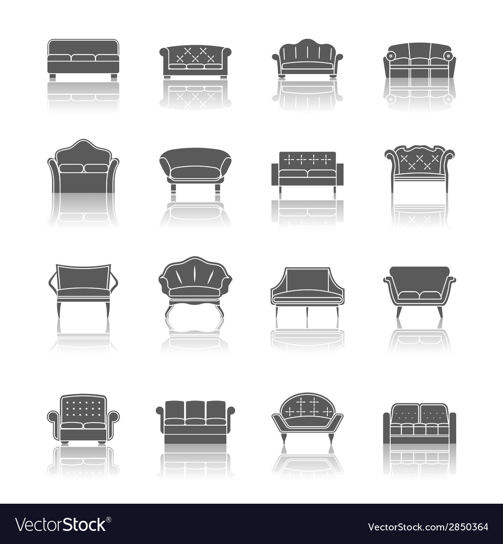 Sofa icon black vector | Price: 1 Credit (USD $1)