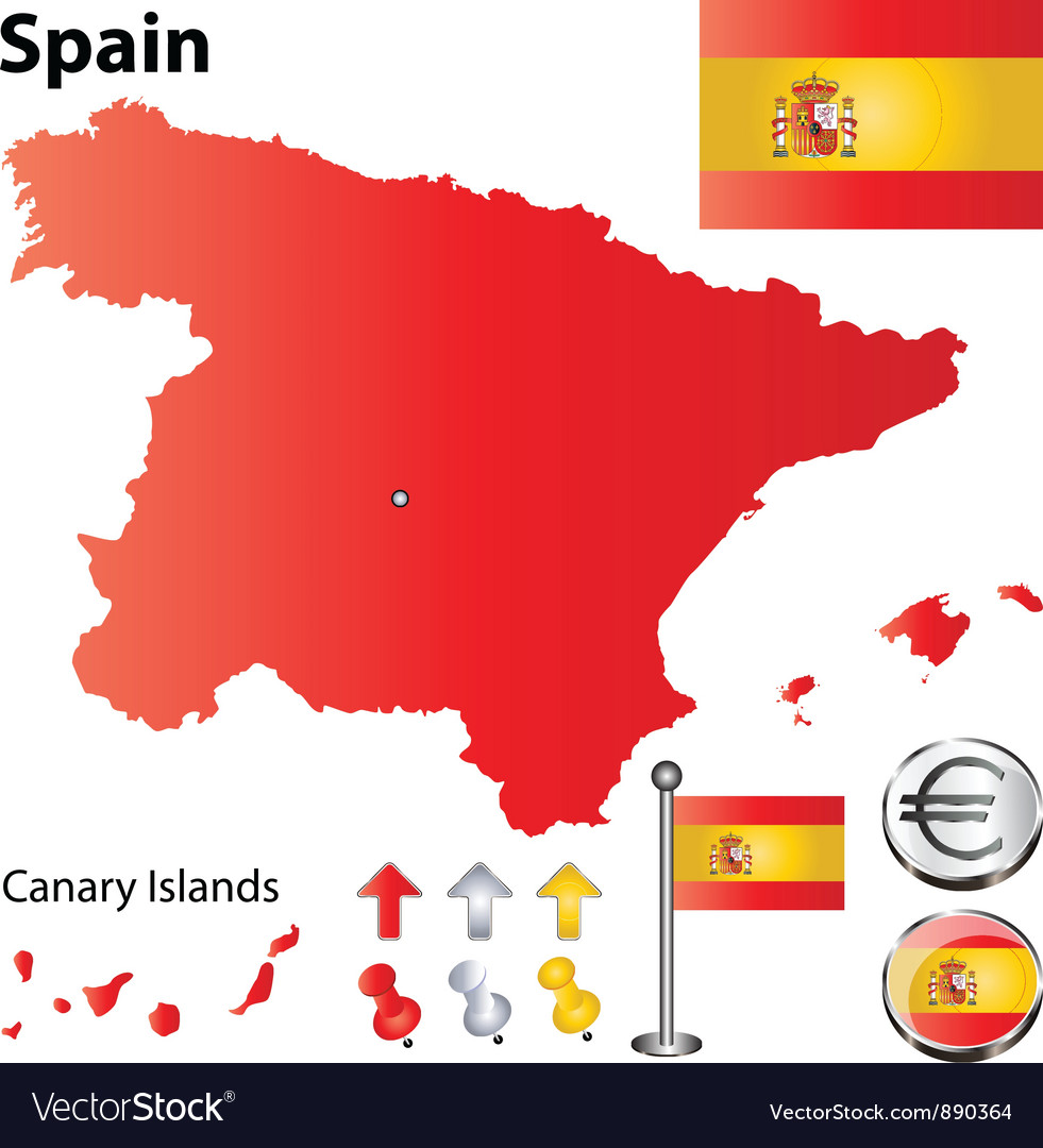 Spanish flag small vector | Price: 1 Credit (USD $1)