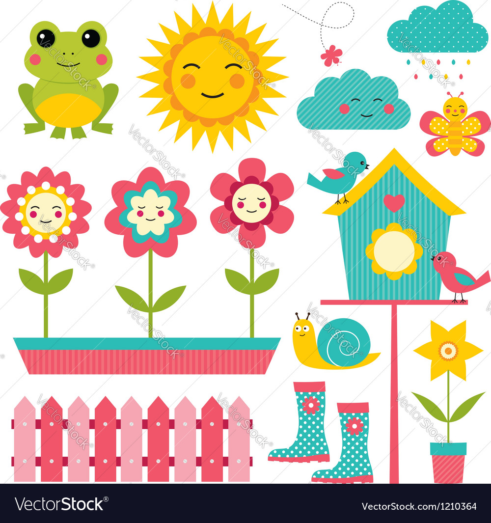 Spring garden set vector | Price: 1 Credit (USD $1)