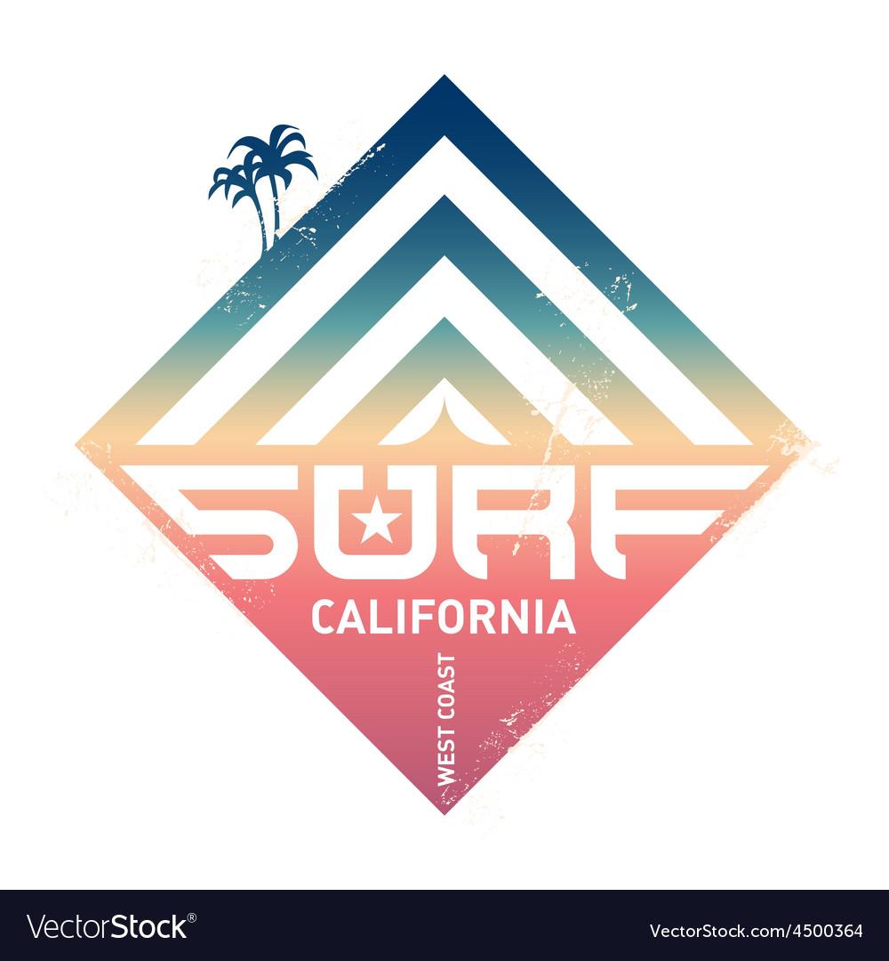 Surfing vintage label california west coast vector | Price: 1 Credit (USD $1)