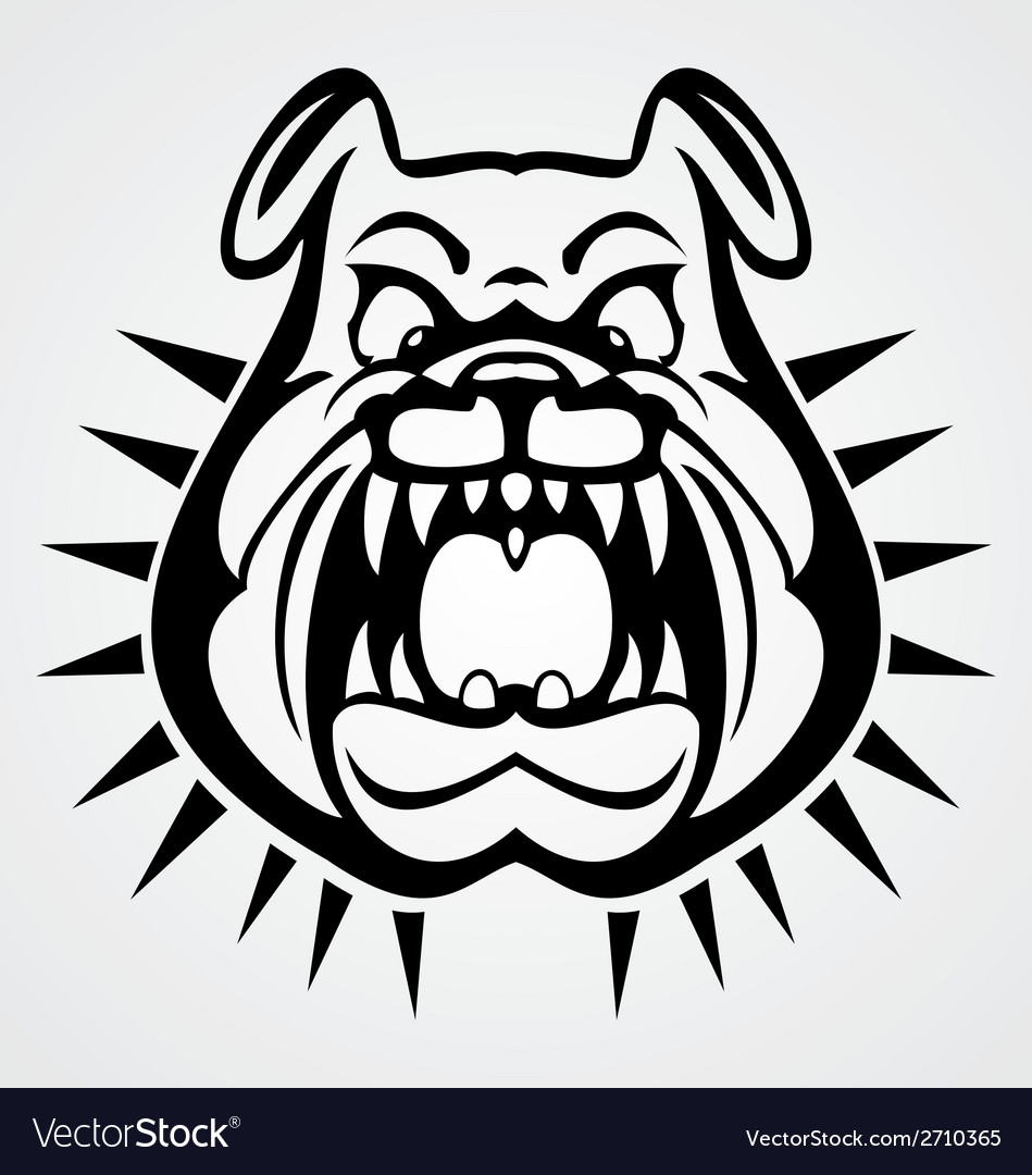 Angry bulldog face vector | Price: 1 Credit (USD $1)