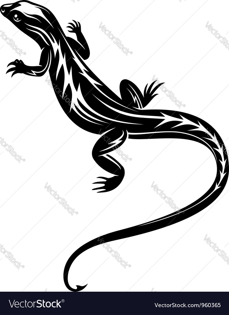 Black fast lizard reptile vector | Price: 1 Credit (USD $1)