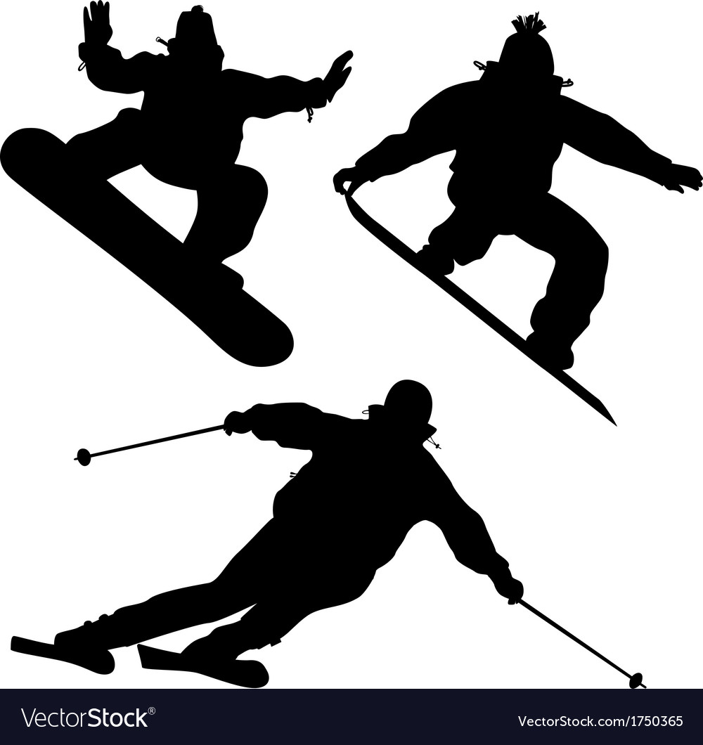 Collection snowboarders and a skier vector | Price: 1 Credit (USD $1)