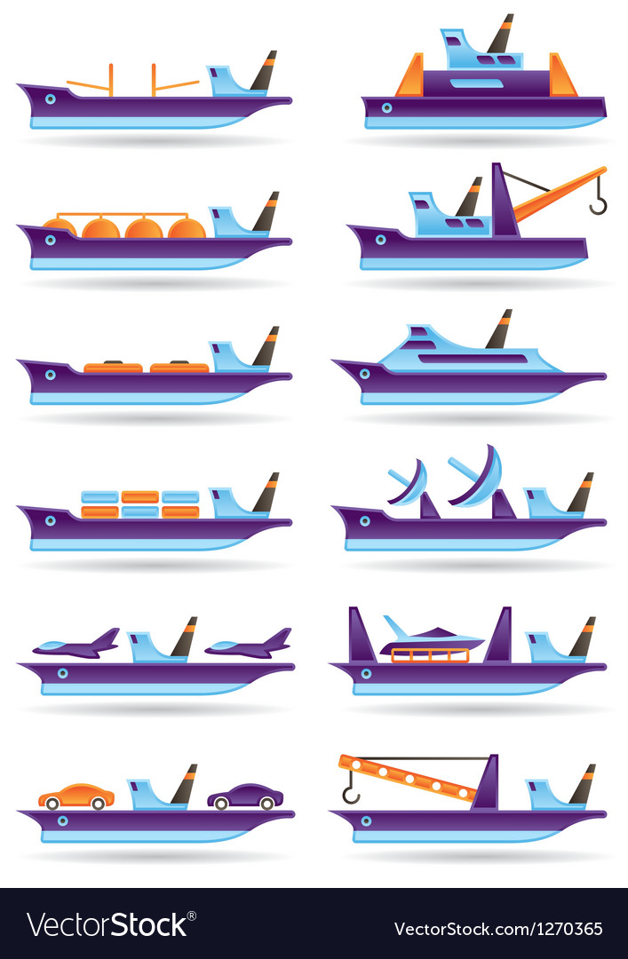 Different cargo ships icons set vector | Price: 3 Credit (USD $3)