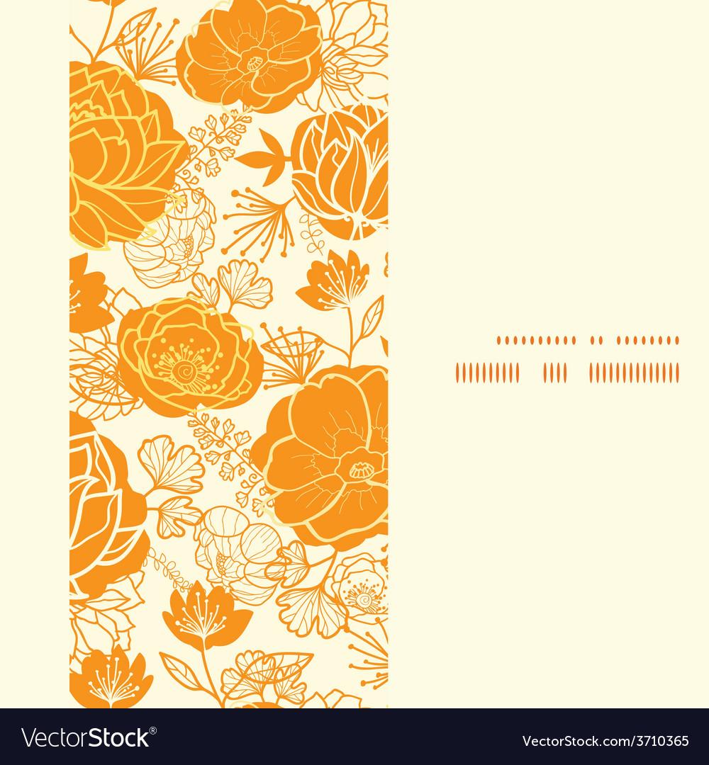 Golden art flowers vertical frame seamless vector | Price: 1 Credit (USD $1)