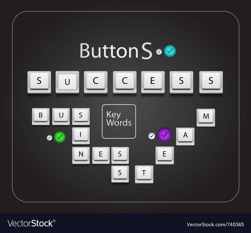 Keyboard text success vector | Price: 1 Credit (USD $1)