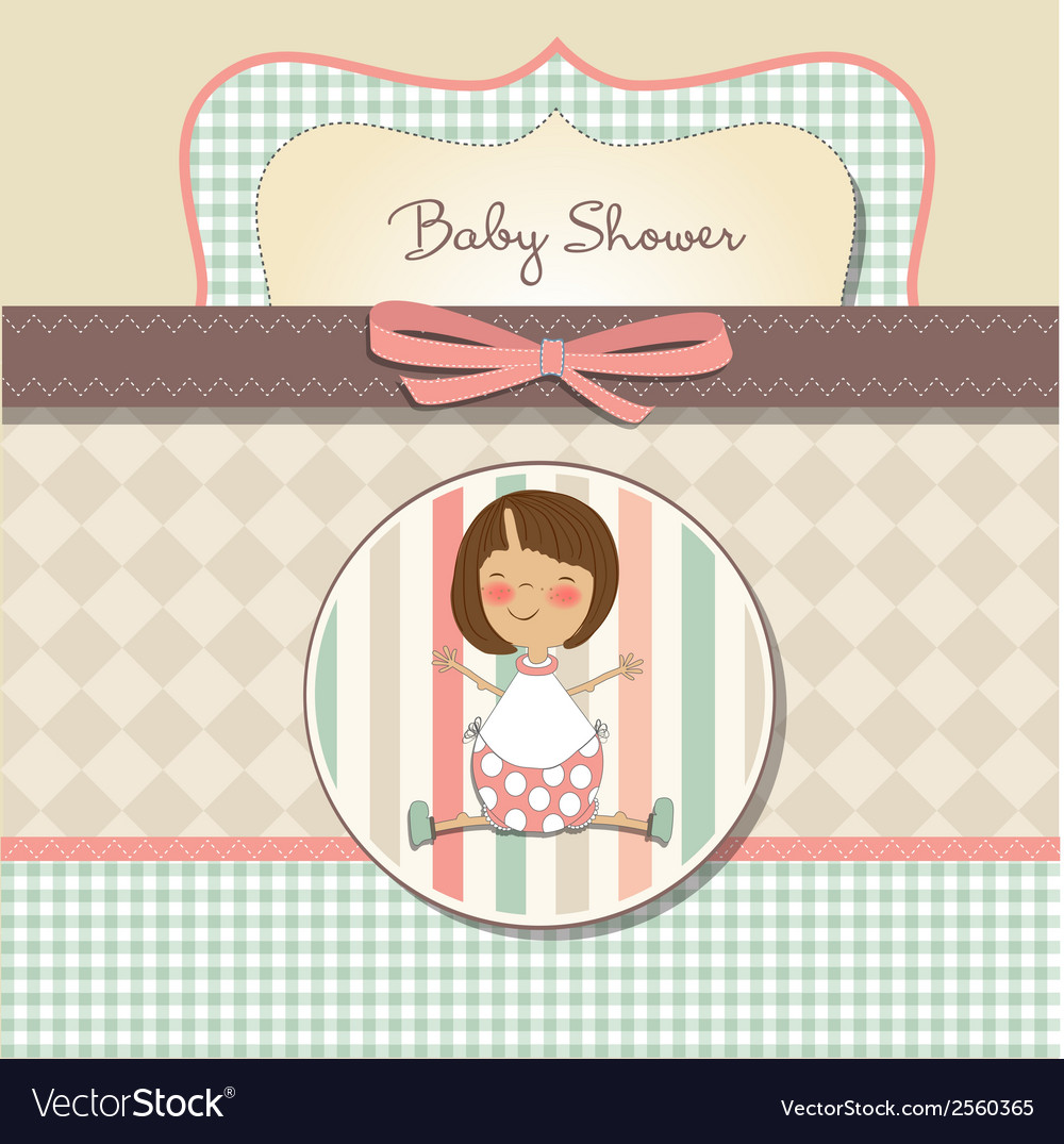 New baby girl announcement card with little girl vector | Price: 1 Credit (USD $1)