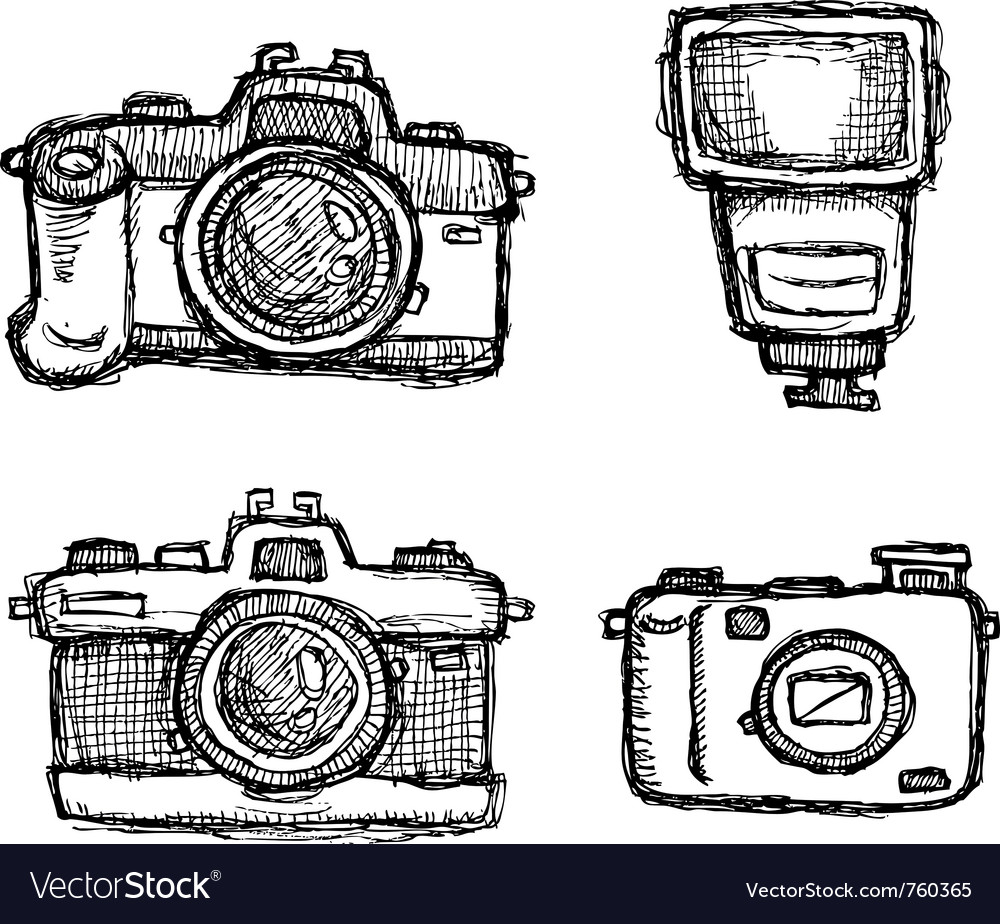 Scribble series - cameras vector | Price: 1 Credit (USD $1)