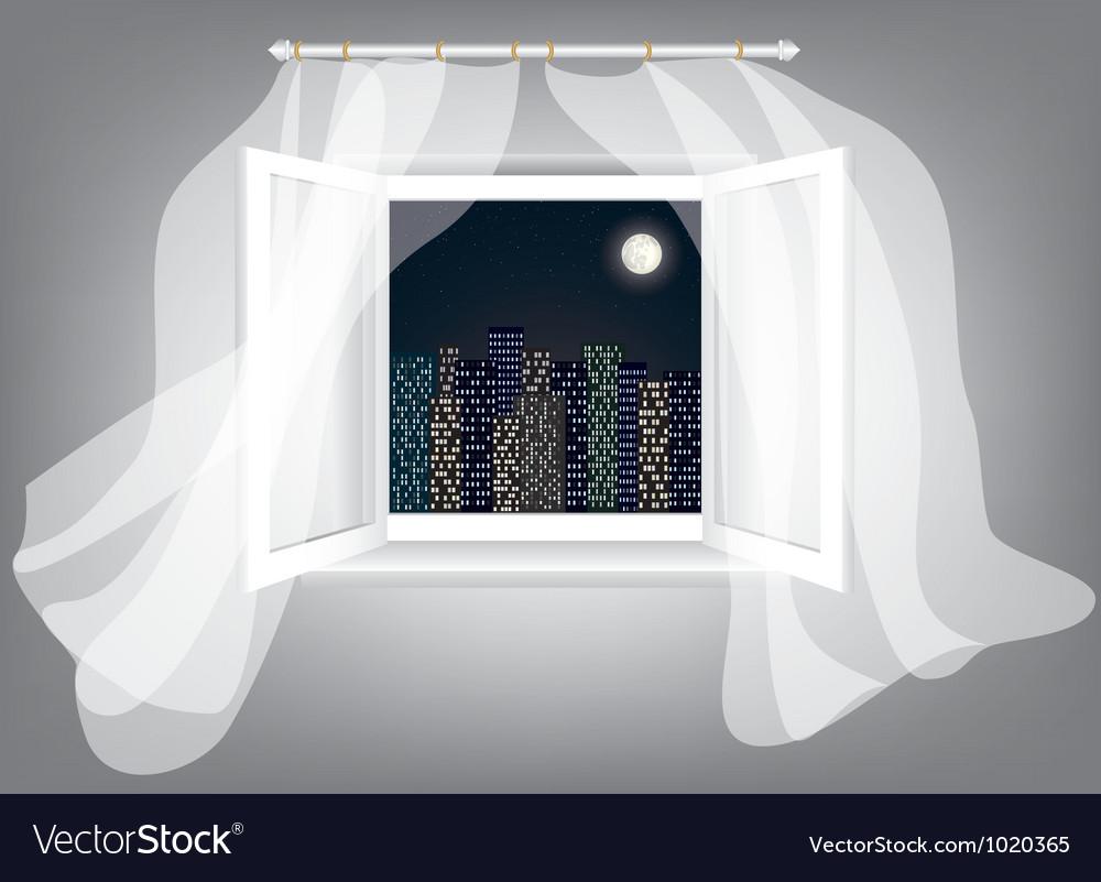 Window at night vector | Price: 1 Credit (USD $1)