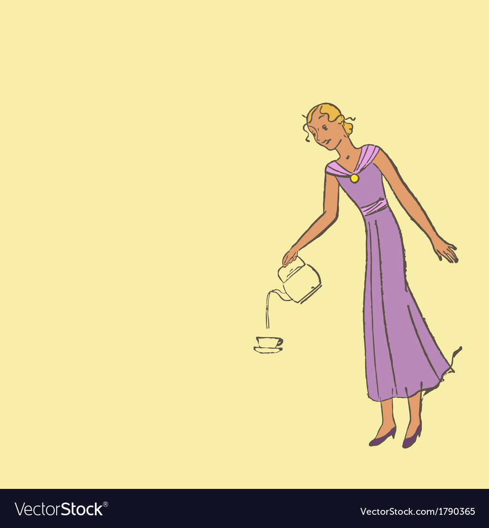 Woman pours coffee into a cup vector | Price: 1 Credit (USD $1)