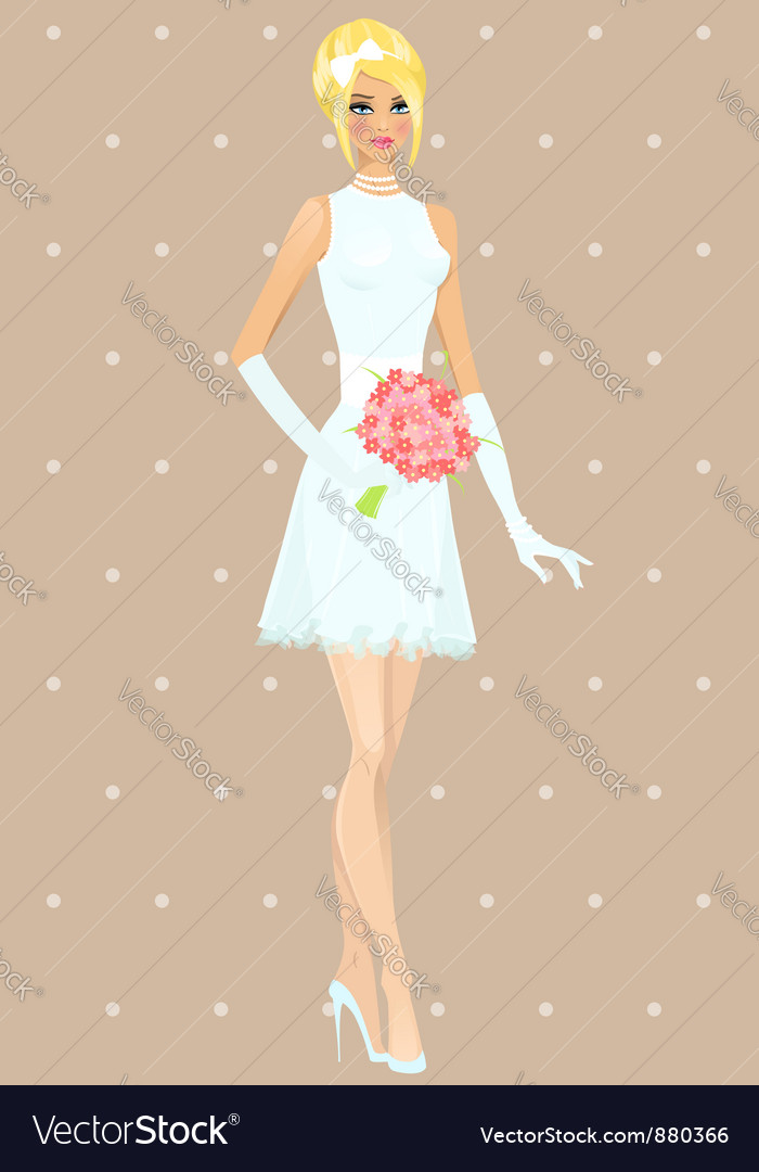 Beautiful girl in wedding dress vector | Price: 3 Credit (USD $3)
