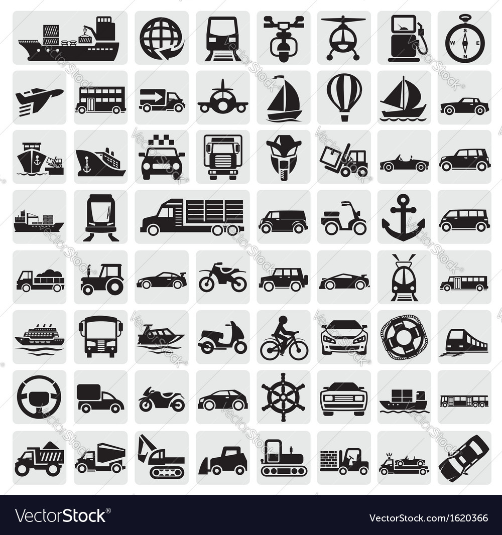 Big transportation icon set vector | Price: 1 Credit (USD $1)