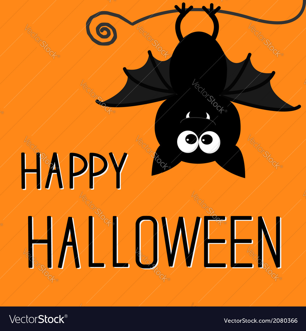 Cute bat happy halloween card vector | Price: 1 Credit (USD $1)
