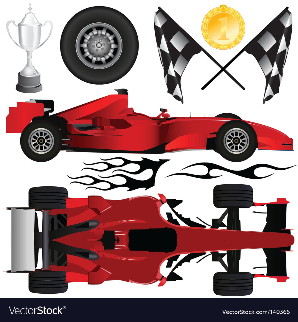Formula car and objects vector | Price: 1 Credit (USD $1)