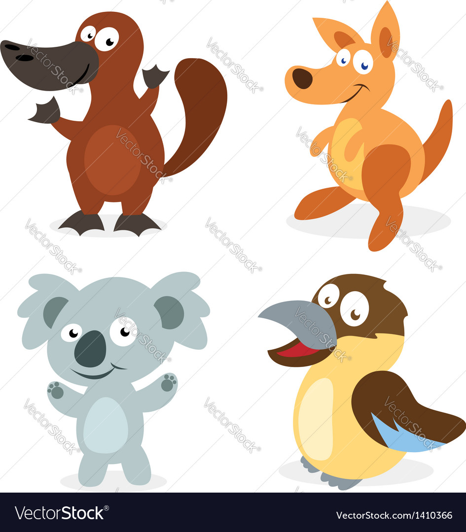 Four cartoon australian animals vector | Price: 3 Credit (USD $3)