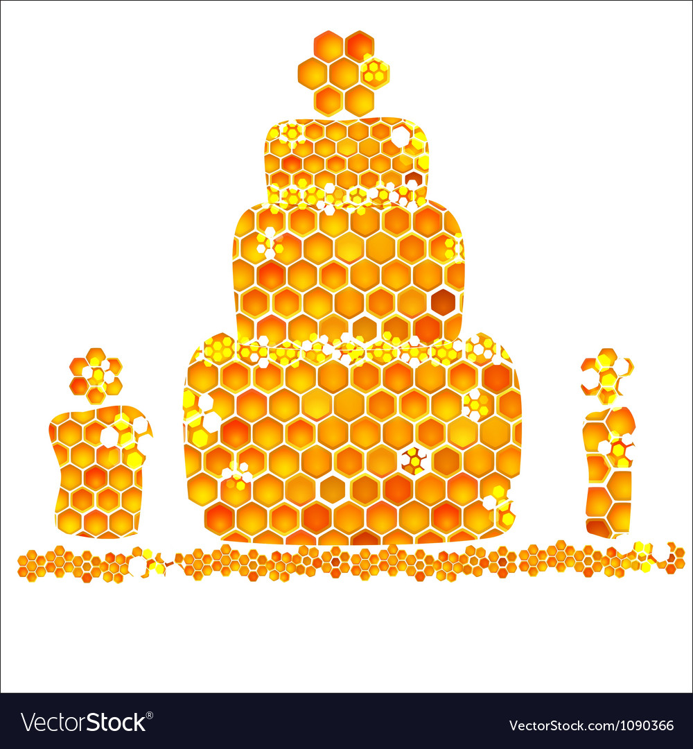 Holiday card with icons of honey birthday vector | Price: 1 Credit (USD $1)