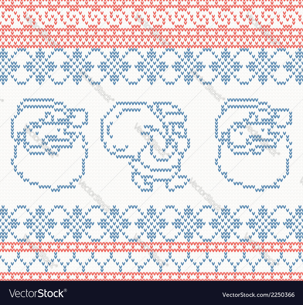 Knitted pattern with santa claus vector | Price: 1 Credit (USD $1)