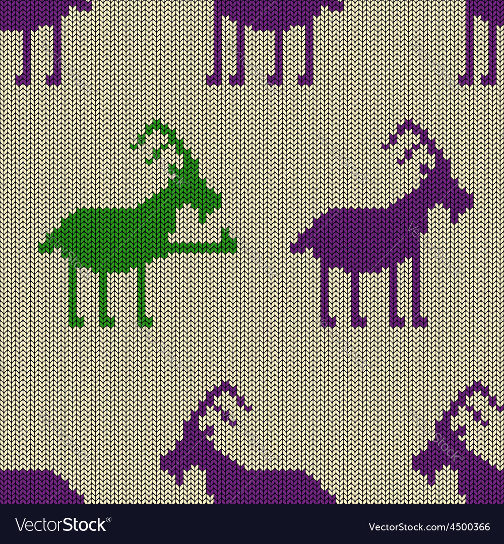 Knitted seamless pattern with goat vector | Price: 1 Credit (USD $1)