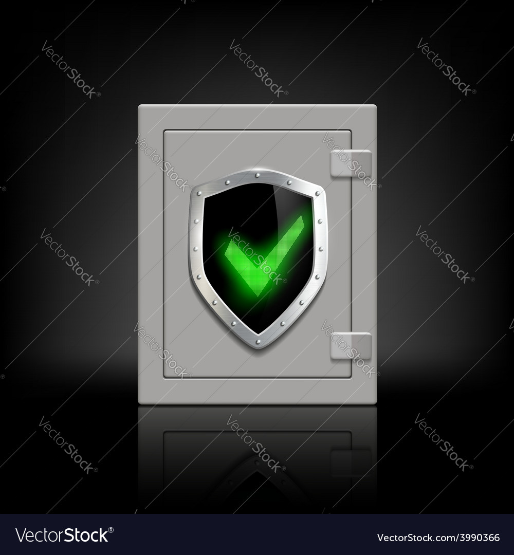 Metal safe with a shield which depicts a tick vector | Price: 1 Credit (USD $1)