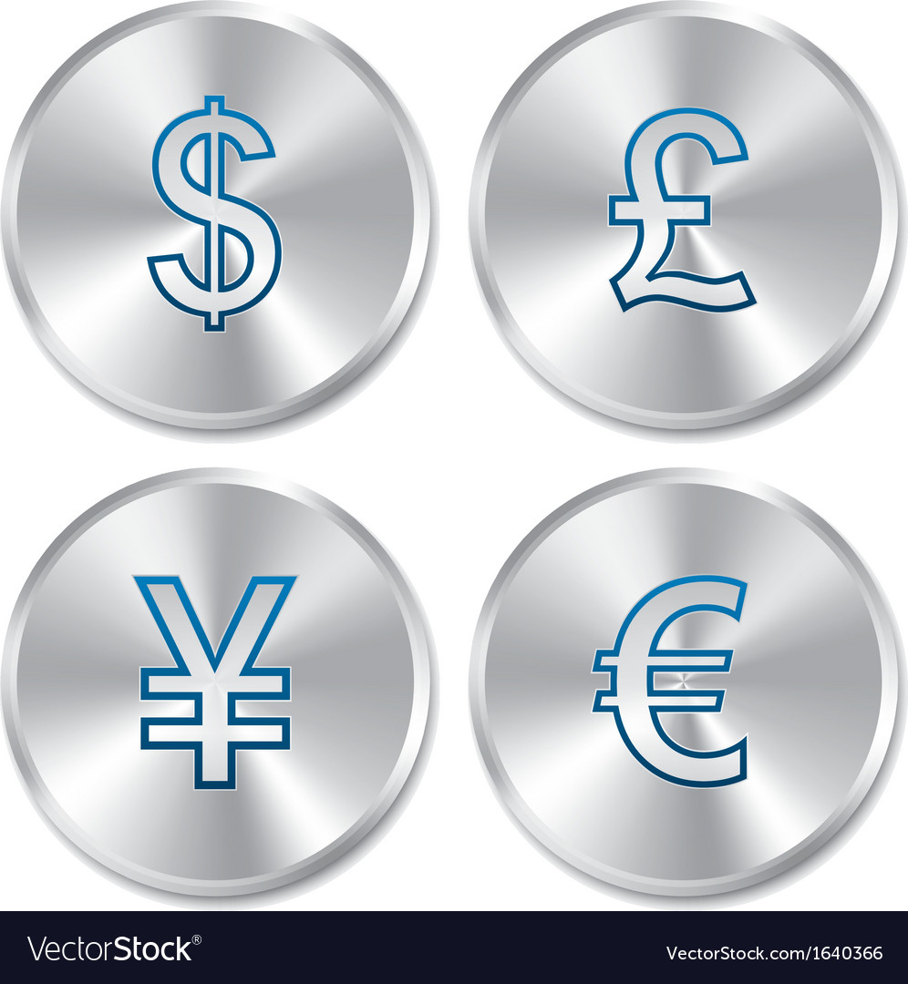 Metallic money buttons template set vector | Price: 1 Credit (USD $1)