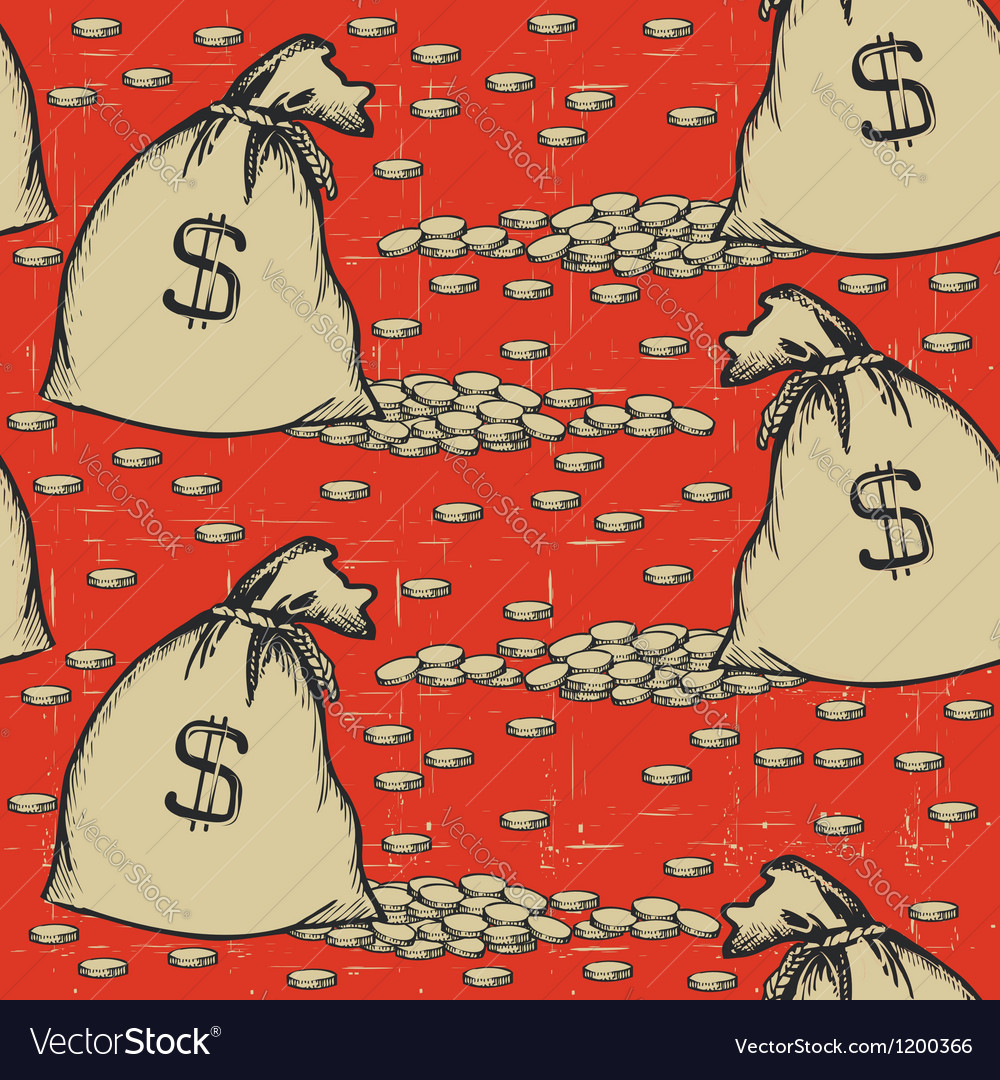 Money bags seamless patternvintage background with vector | Price: 3 Credit (USD $3)