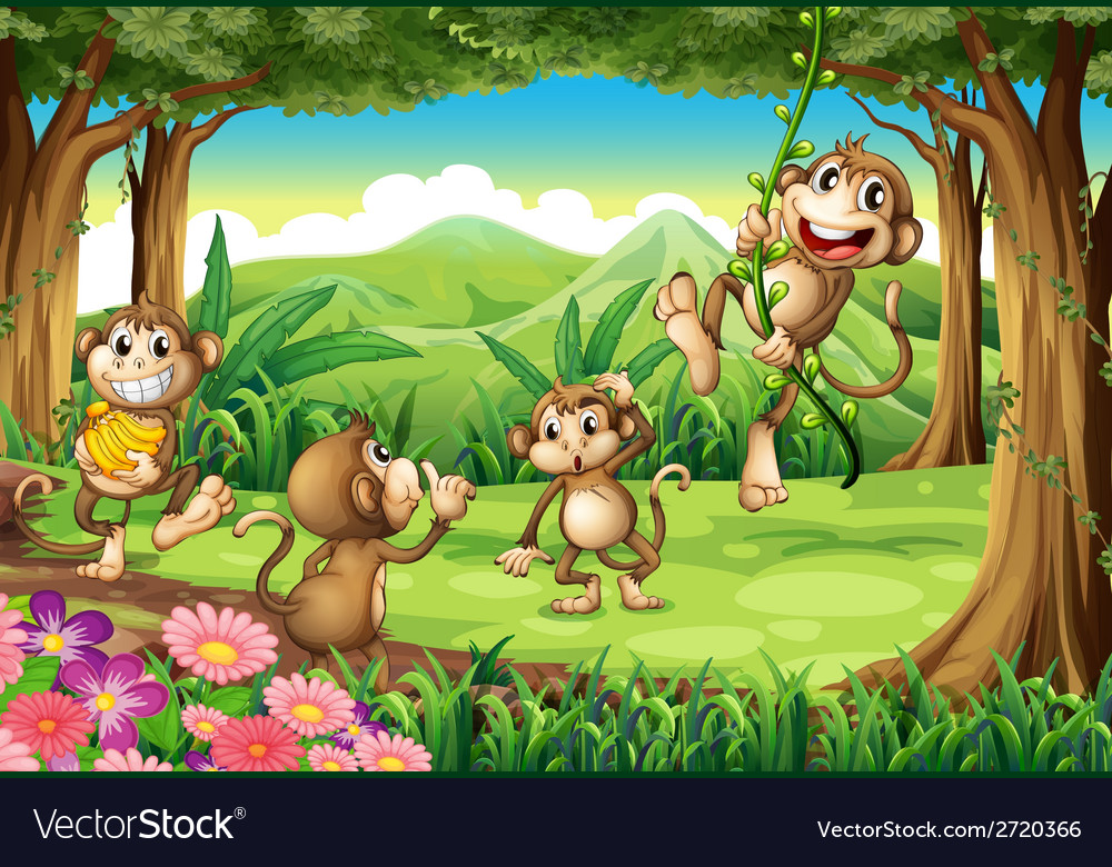 Monkeys playing vector | Price: 1 Credit (USD $1)