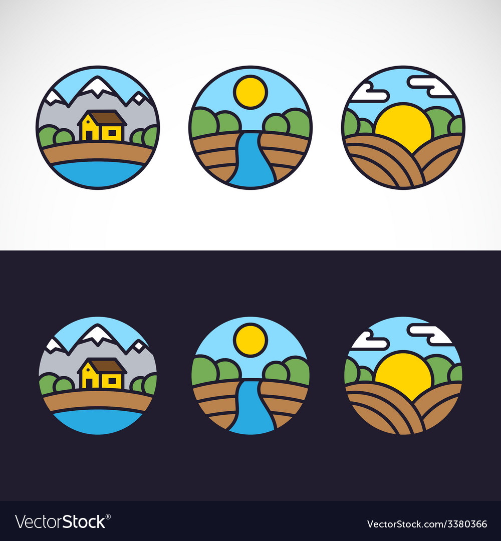 Nature landscape logo template set vector | Price: 1 Credit (USD $1)