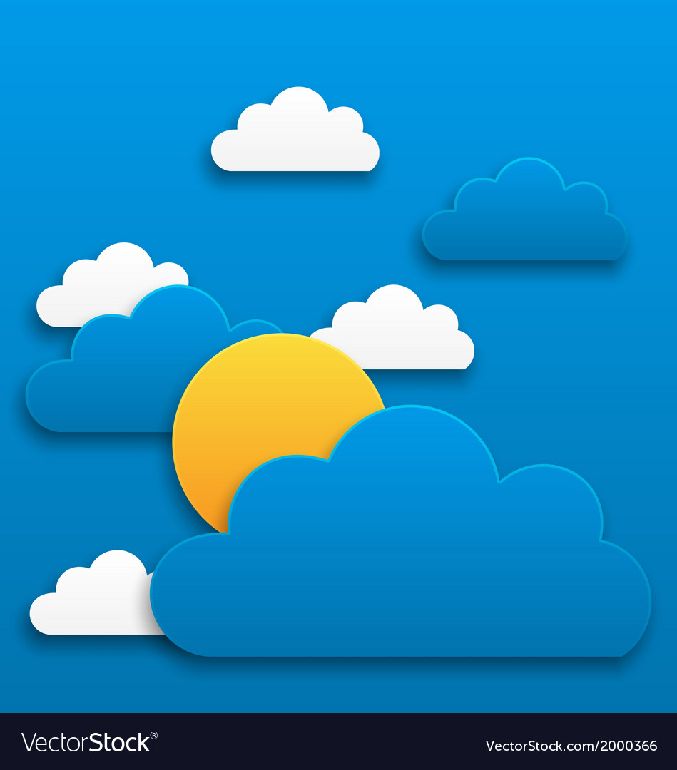 Paper sun with clouds abstract summer background vector | Price: 1 Credit (USD $1)