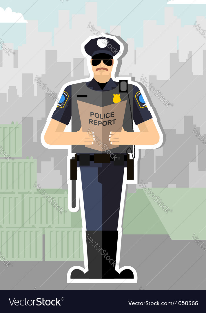 Police with a report of a standing ovation police vector | Price: 1 Credit (USD $1)