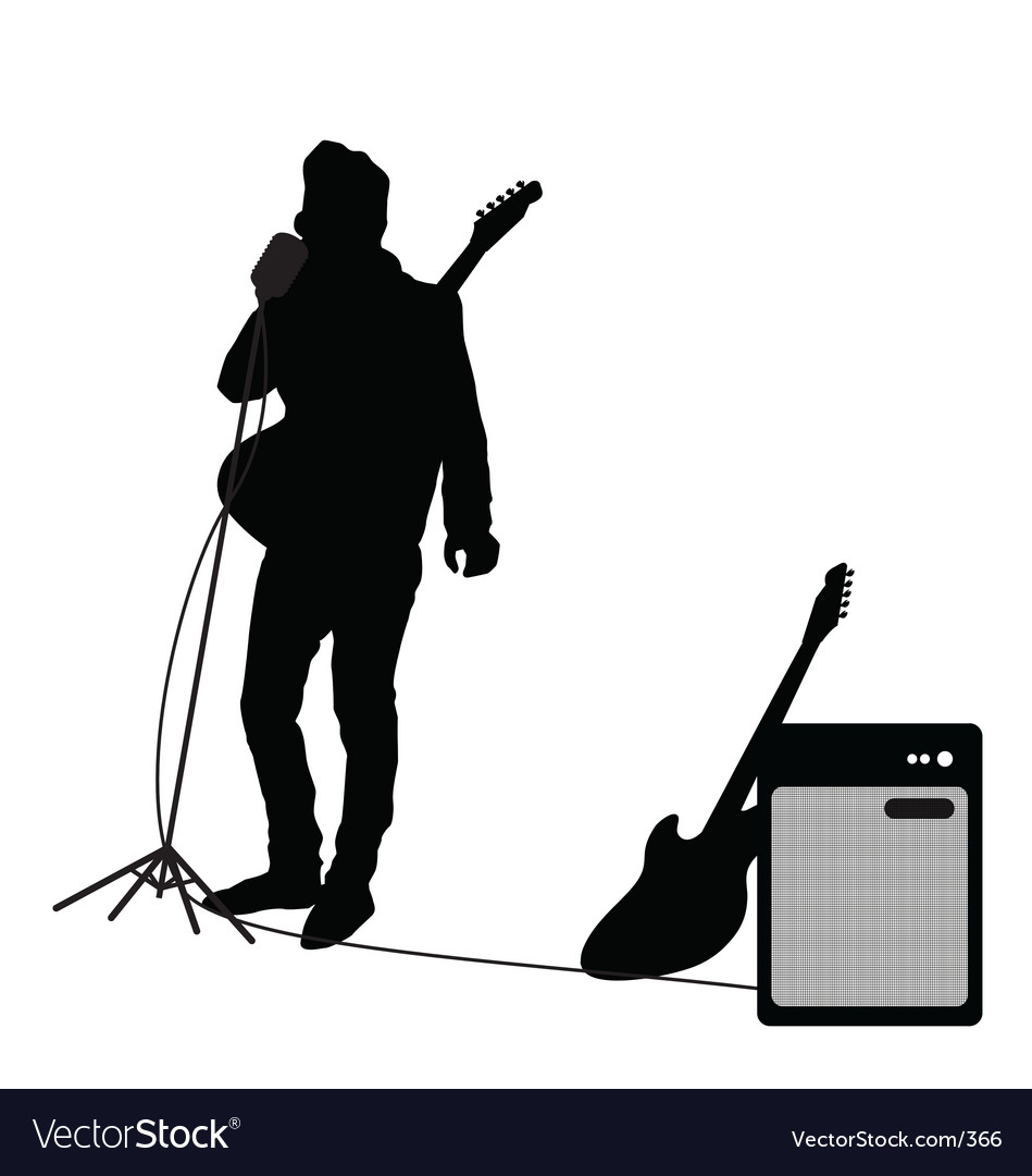 Rocker at mic vector | Price: 1 Credit (USD $1)