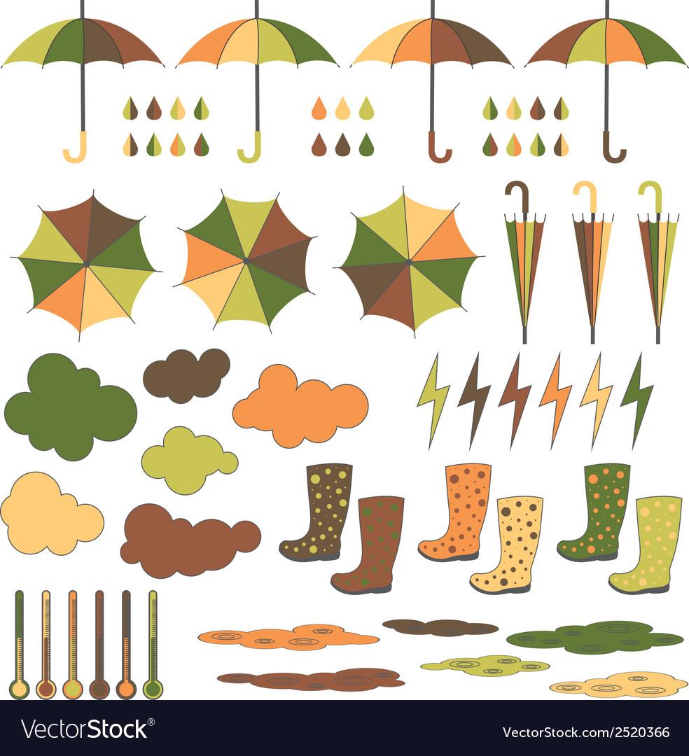Rubber boots umbrellas rain set vector | Price: 1 Credit (USD $1)