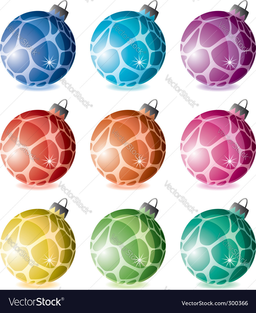 Set of holiday balls vector | Price: 1 Credit (USD $1)
