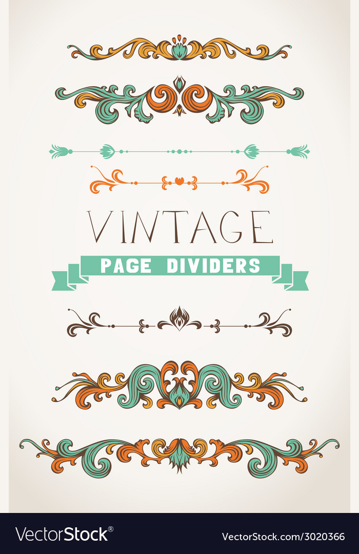 Set of vintage page decorations and dividers vector | Price: 1 Credit (USD $1)