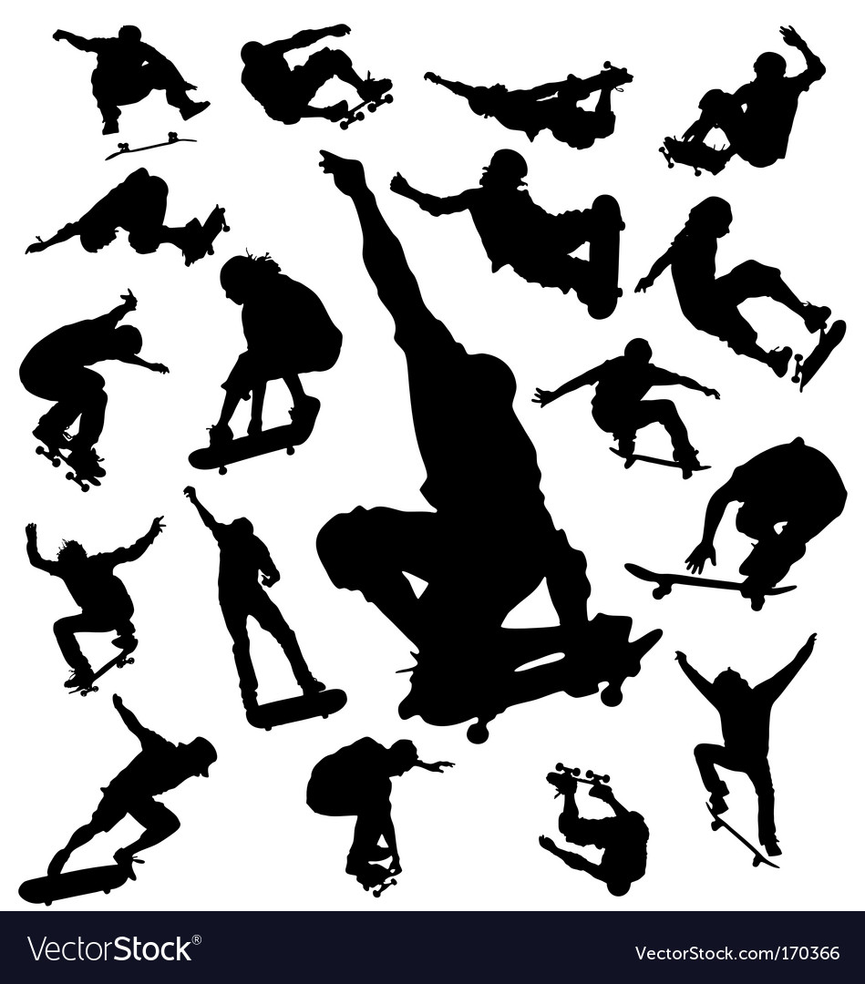 Skateboarder silhouettes vector | Price: 1 Credit (USD $1)