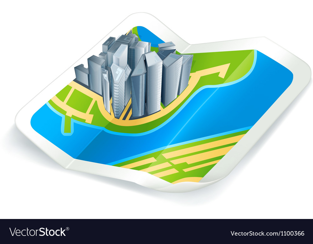 Town on the map icon vector | Price: 1 Credit (USD $1)