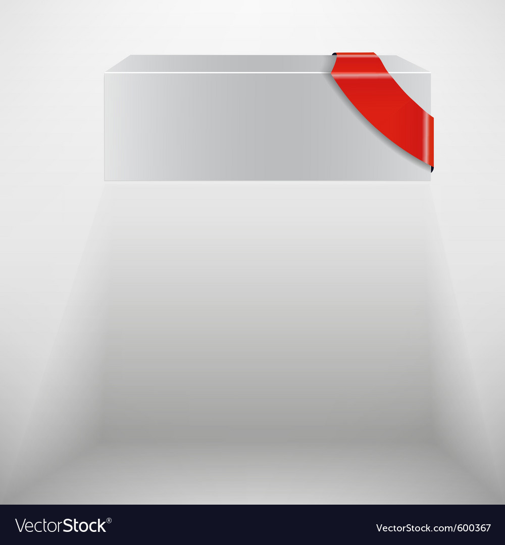 Abstract white box with red ribbon vector | Price: 1 Credit (USD $1)