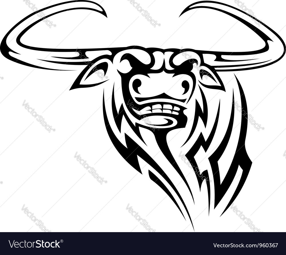Buffalo mascot isolated on white vector | Price: 1 Credit (USD $1)