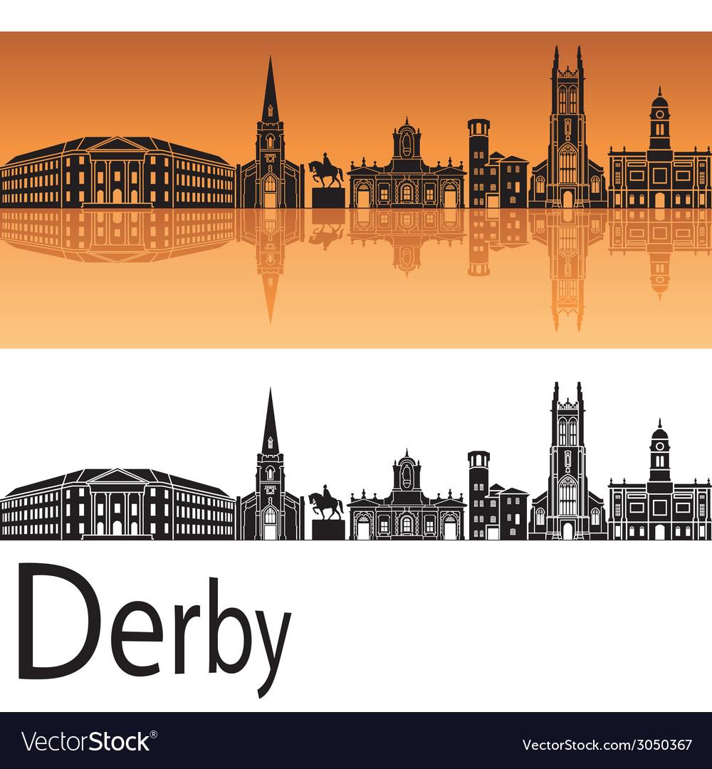 Derby skyline in orange background vector | Price: 1 Credit (USD $1)
